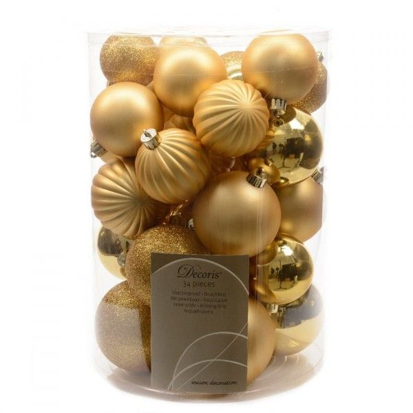 Lot de 34 boules de Noël assorties Alpine Or