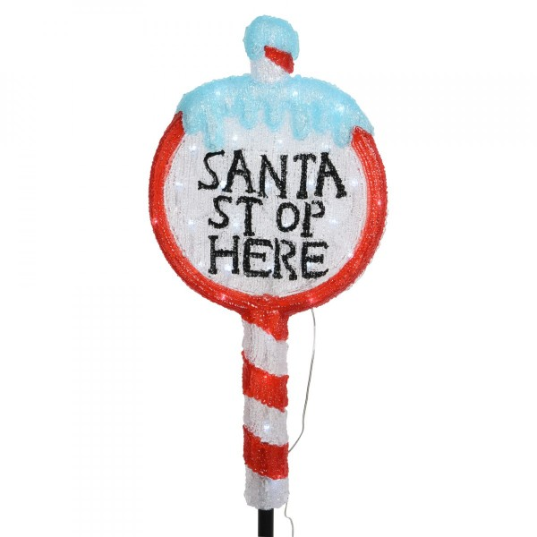 Panneau Santa Stop Here Blanc froid 30 LED