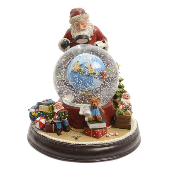 Foto Con La Neve Di Natale.Villaggio Di Natale Luminoso E Musicale Palla Di Vetro Con La Neve Con Babbo Natale Villaggi Natalizi Eminza