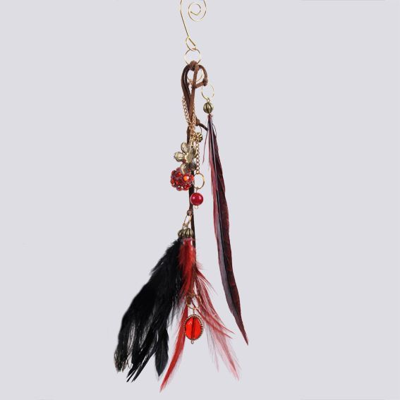 Suspension plume Agathe Rouge