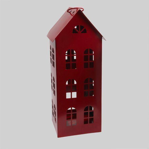 grande lanterne citadine rouge d coration de table eminza. Black Bedroom Furniture Sets. Home Design Ideas