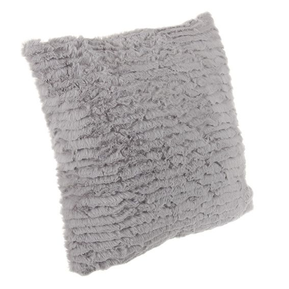 coussin douceur imitation fourrure ray gris clair eminza. Black Bedroom Furniture Sets. Home Design Ideas