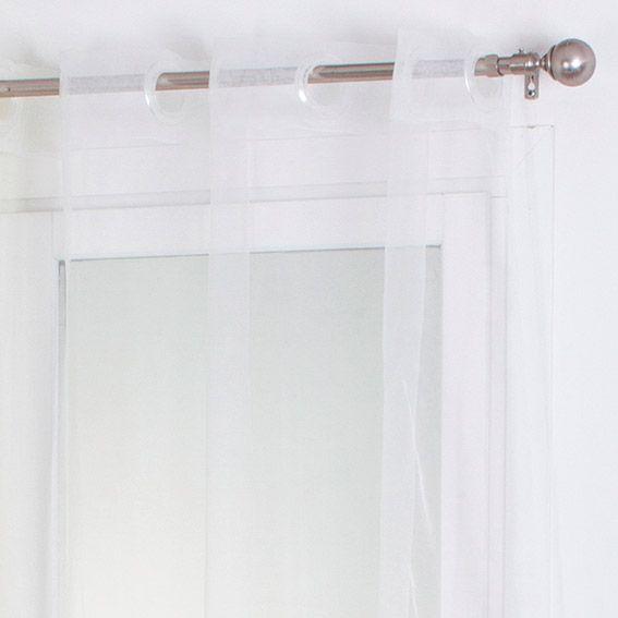 voilage 140 x h240 cm organza uni blanc voilage eminza. Black Bedroom Furniture Sets. Home Design Ideas