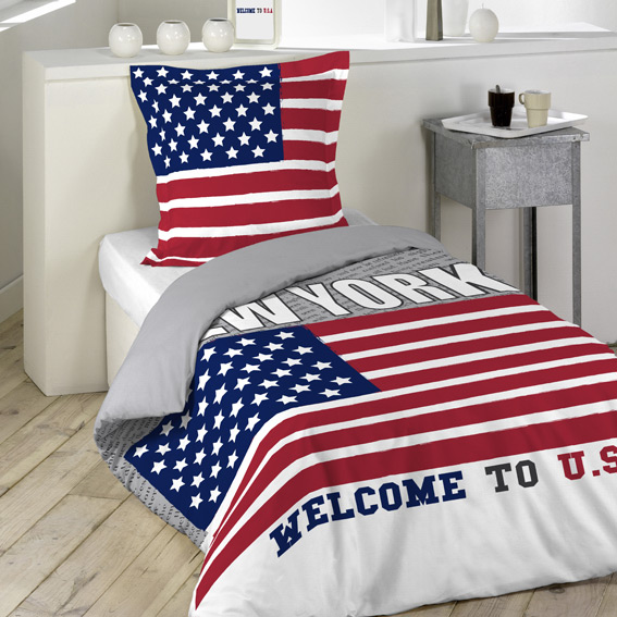 Funda nórdica y una funda para almohada (140 cm) Welcome USA