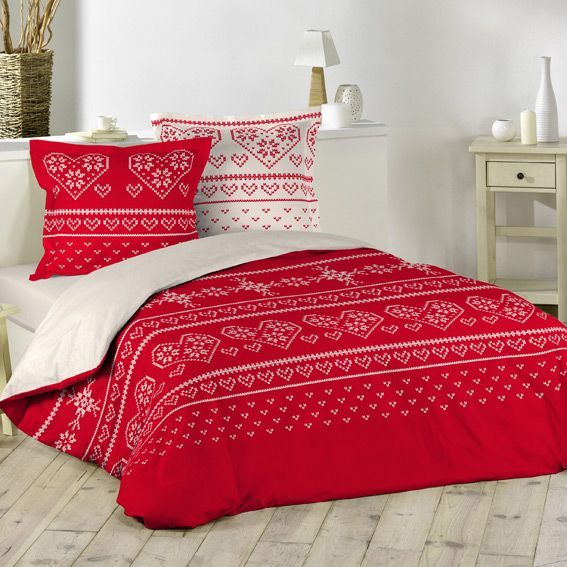 linge de lit style montagne rouge eminza. Black Bedroom Furniture Sets. Home Design Ideas