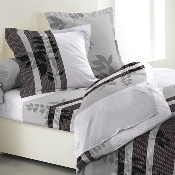 parure de draps 4 pi ces flanelle feuillage d 39 automne parure de lit eminza. Black Bedroom Furniture Sets. Home Design Ideas
