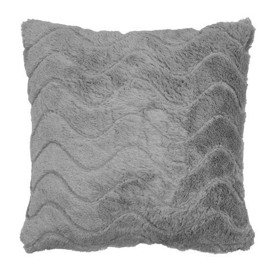 coussin douceur imitation fourrure zibeline gris eminza. Black Bedroom Furniture Sets. Home Design Ideas