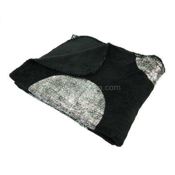 plaid polaire platine noir eminza. Black Bedroom Furniture Sets. Home Design Ideas