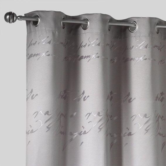 Rideau (140 x H260 cm) Jacquard Script Gris