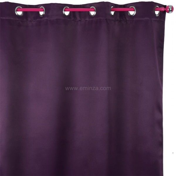 rideau obscurcissant isolant 140 x h260 cm prune rideau isolant eminza. Black Bedroom Furniture Sets. Home Design Ideas