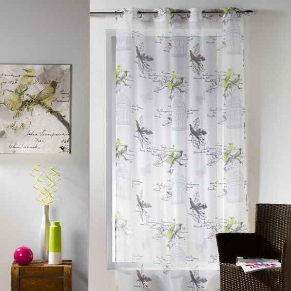 voilage oeillets paradis vert anis eminza. Black Bedroom Furniture Sets. Home Design Ideas