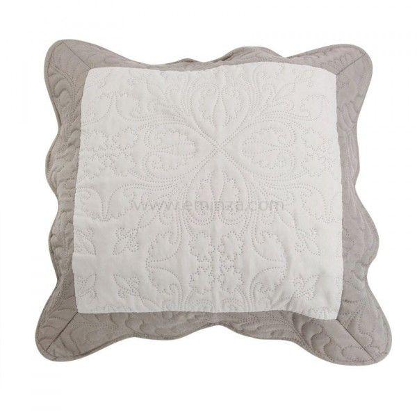 housse de coussin boutis 45 cm edana taupe d co textile eminza. Black Bedroom Furniture Sets. Home Design Ideas