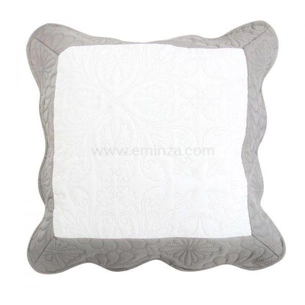 housse de coussin boutis 45 cm edana gris coussin et housse de coussin eminza. Black Bedroom Furniture Sets. Home Design Ideas