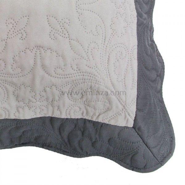 housse de coussin boutis 45 cm edana gris anthracite coussin et housse de coussin eminza. Black Bedroom Furniture Sets. Home Design Ideas