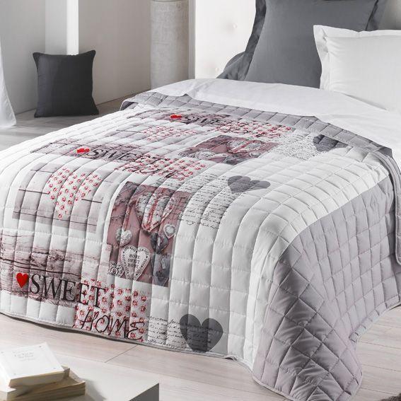 couvre lit 220 x 240 cm matelass sweet home gris eminza. Black Bedroom Furniture Sets. Home Design Ideas