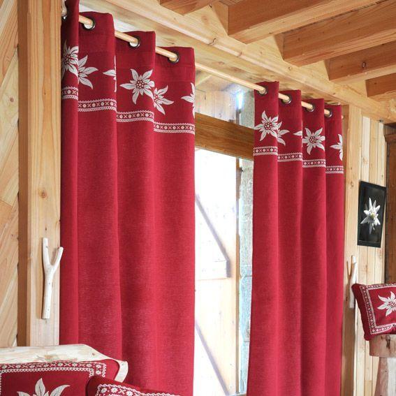 rideau 135 x h260 cm vallorcine rouge rideau voilage. Black Bedroom Furniture Sets. Home Design Ideas