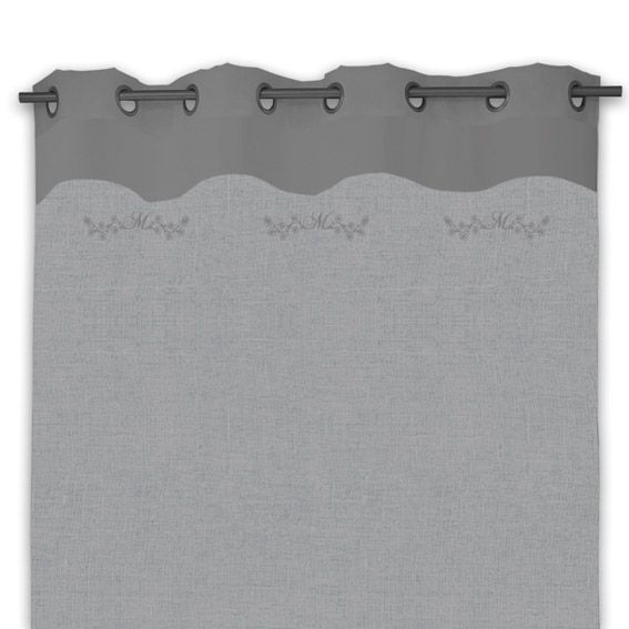 rideau à oeillets mélanie gris - rideau / voilage / store - eminza