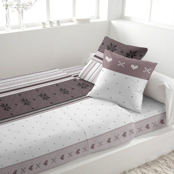 parure de draps 4 pi ces l140 cm flanelle avoriaz blanc. Black Bedroom Furniture Sets. Home Design Ideas