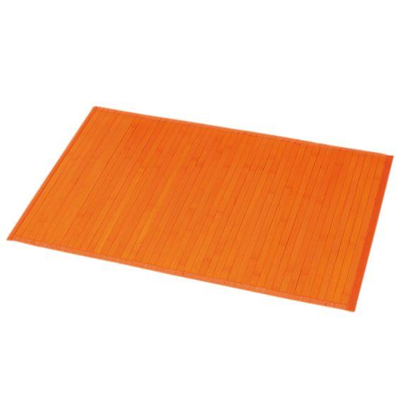 Tapis De Bain Lattes Bambou Orange