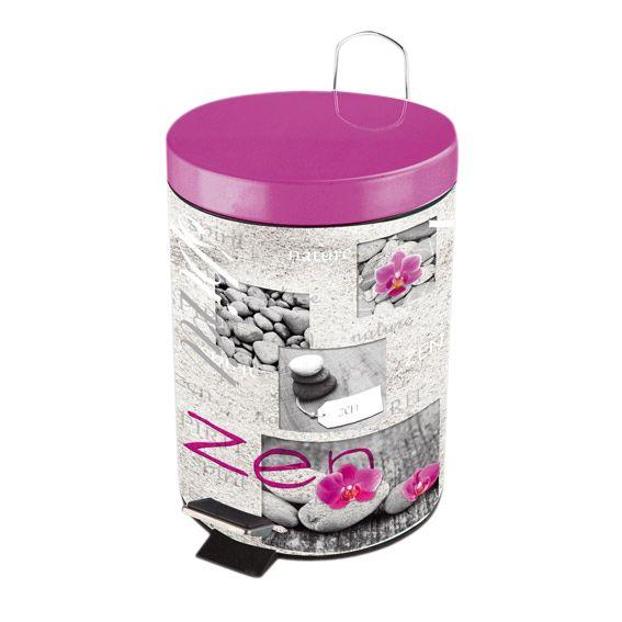 Poubelle p dale zen spirit rose accessoire salle de bain eminza - Poubelle salle de bain rose ...