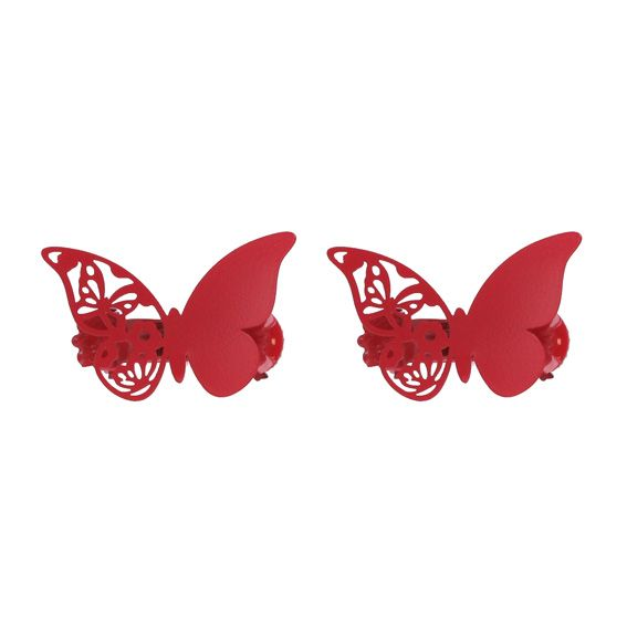 Lot de 2 pinces Papillon Mariposa Rouge