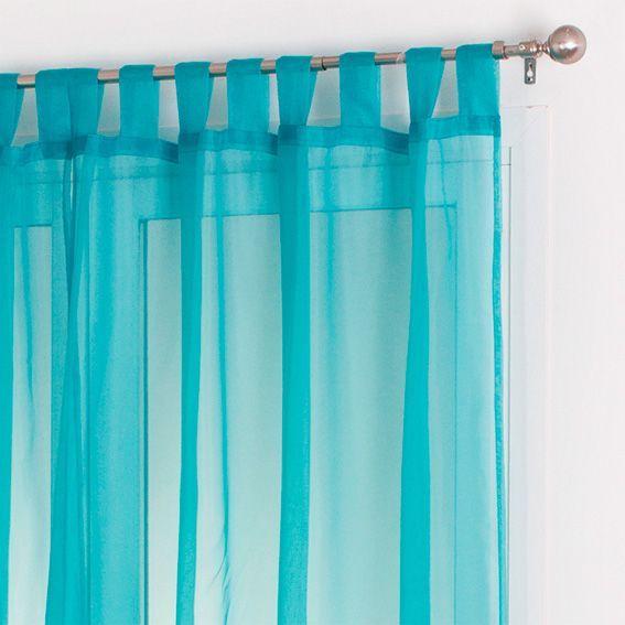 Lot de 2 voilages (140 x H240 cm) Uni Turquoise