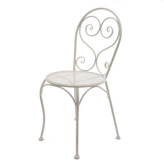 Sedia da giardino Lucy stile ferro battuto Bianco - Sedia semplice e ...