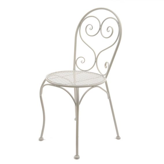 Sedia da giardino Lucy stile ferro battuto Bianco