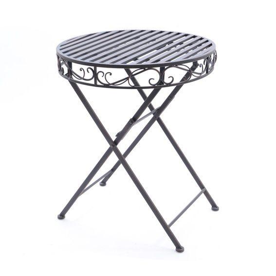 Tavolo rotondo eleonora in ferro battuto cioccolato salotto da giardino tavoli e sedie eminza - Tavolo in ferro battuto da giardino ...
