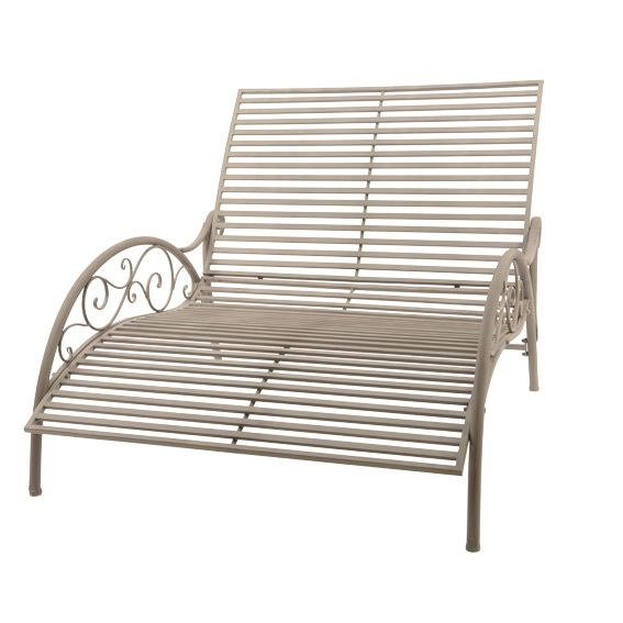 lit de jardin style fer forg taupe bain de soleil eminza. Black Bedroom Furniture Sets. Home Design Ideas