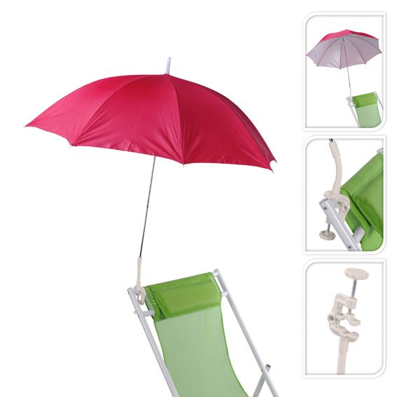 Parasol de Plage Clipsable - Rose