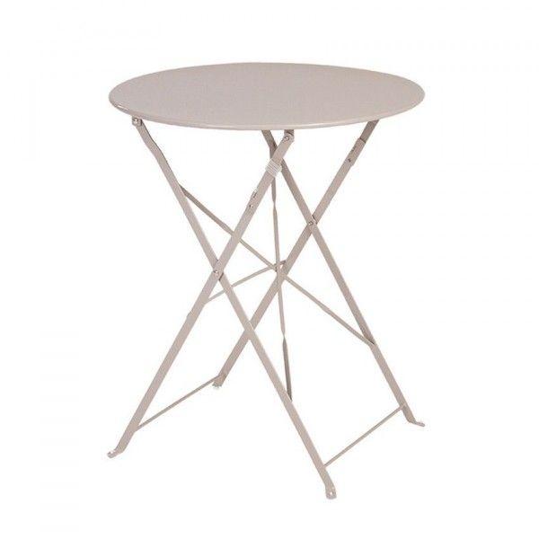Table de jardin ronde pliante Métal Camargue (D60 cm) - Taupe ...
