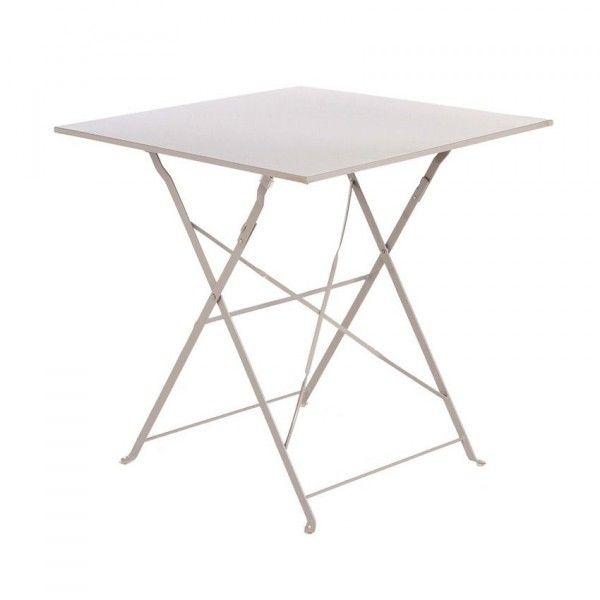 Table de jardin pliante m tal camargue 70 x 70 cm taupe table de jardin eminza - Table jardin metal pliante ...