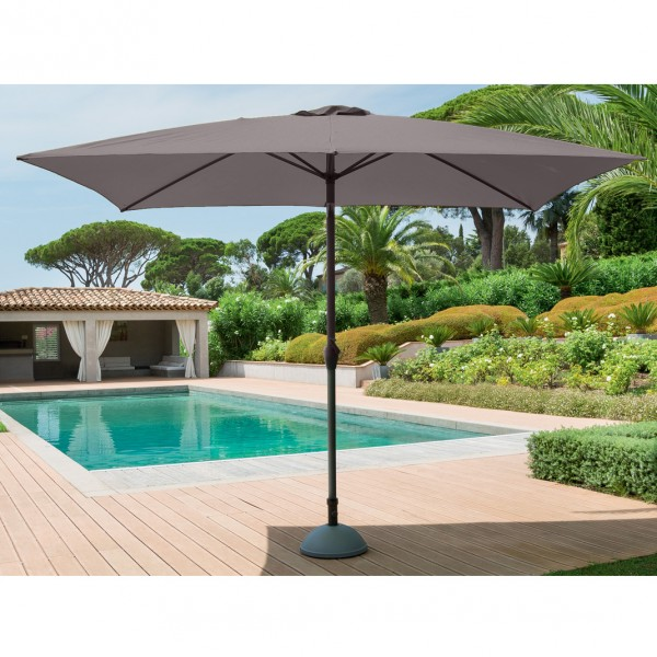 Parasol Inclinable Rectangulaire Fidji L 3 X L 2 M Gris Cendre