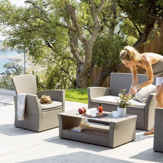 Salon de jardin Bora Bora Taupe - 4 places - Salon de jardin, table ...