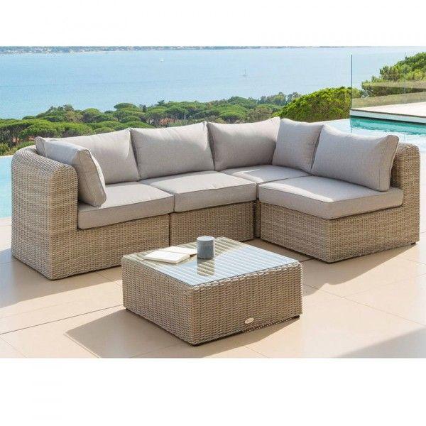 salon de jardin angle libertad sable gris clair 4 places. Black Bedroom Furniture Sets. Home Design Ideas