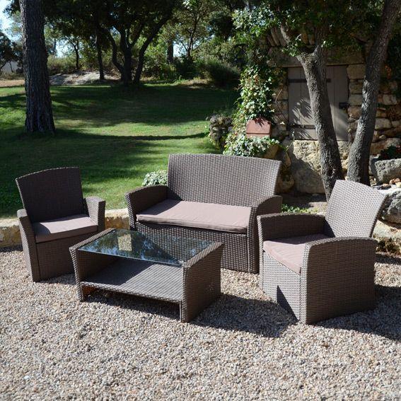Lot de 3 coussins pour salon de jardin Ibiza - Taupe - Textile d ...