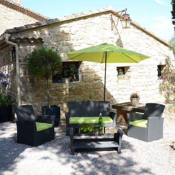 Salon de jardin, table et chaise + Vert + Résine tressée - Eminza
