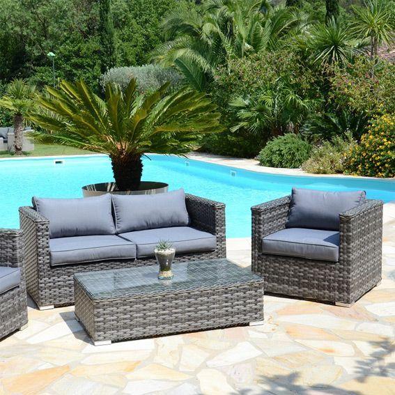 Salon de jardin Stromboli Gris - 4 places - Salon de jardin, table ...