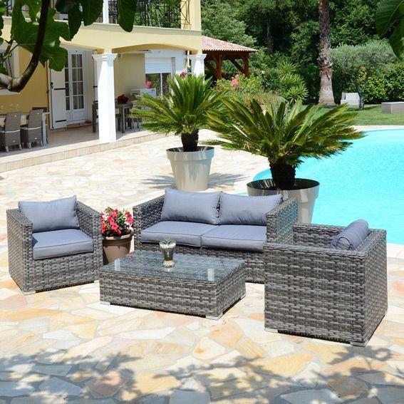 salon de jardin stromboli gris 4 places eminza. Black Bedroom Furniture Sets. Home Design Ideas
