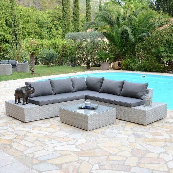 salon de jardin california led 5 places salon de. Black Bedroom Furniture Sets. Home Design Ideas