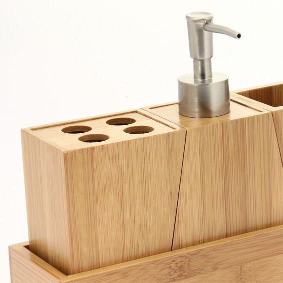 kit d 39 accessoires de salle de bain bois accessoire salle. Black Bedroom Furniture Sets. Home Design Ideas