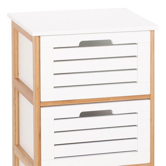 commode de salle de bain bambou blanc meuble bas eminza. Black Bedroom Furniture Sets. Home Design Ideas