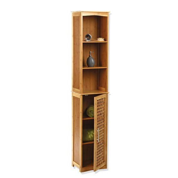 Meuble colonne salle de bain bambou eminza for Meuble bas salle de bain bambou