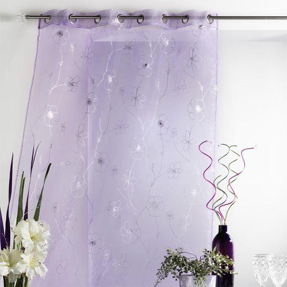 rideau et voilage violet eminza. Black Bedroom Furniture Sets. Home Design Ideas