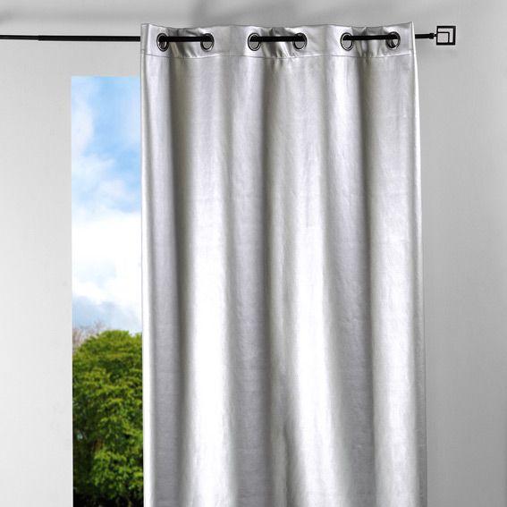 Rideaux rideau et voilage eminza - Rideau gris argente ...