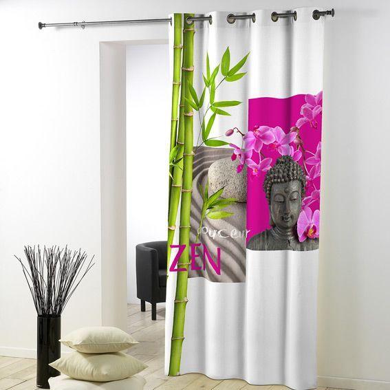Rideau 140 x h260 cm douceur zen rideau voilage store eminza - Voilage pour chambre ...