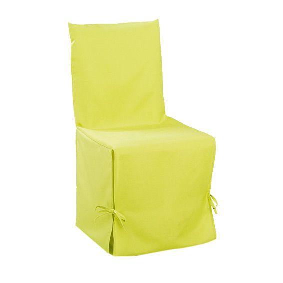 Housse de chaise gamme essentiel vert anis eminza - Housse de chaise vert anis ...