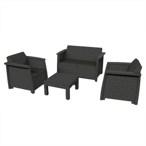 Salon de jardin Keter Vegas Anthracite - 4 places - Salon de jardin ...