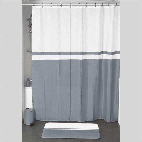 rideau de douche velours bicolore gris premium. Black Bedroom Furniture Sets. Home Design Ideas